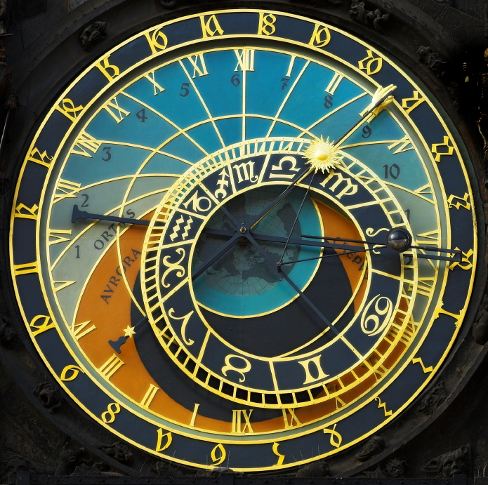 Old astronomical clock in the center square of Prague, Czech Republick